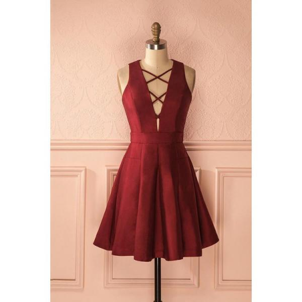 Burgundy Homecoming Dresses, Short Prom Dresses, Simple Burgundy Satin A-line Deep V-neck Short Homecoming/Prom Dresses,Graduation Dresses