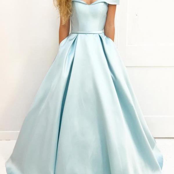 Off The Shoulder Prom Dress,Satin Prom dress, Off the Shoulder Prom Dresses, Formal Evening Gowns.Light Blue Prom Dress with Poackets,Pageant Dress