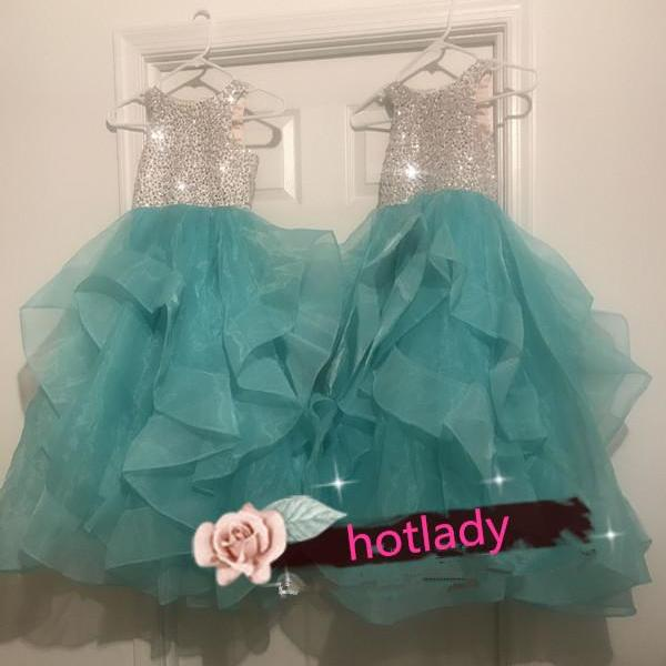 Flower Girl Dresses, Crystal Beaded Sequins Flower Girl Dresses,Puffy organza Flower Girl Dress,Kids Birthday Party Dresses, Pageant First Communion Dress,Own Design Flower Girl Dress