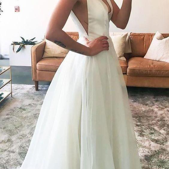 2018 Popular White Simple Prom Dress,Deep V-Neck Evening Dress,Sexy Chiffon Party Dress