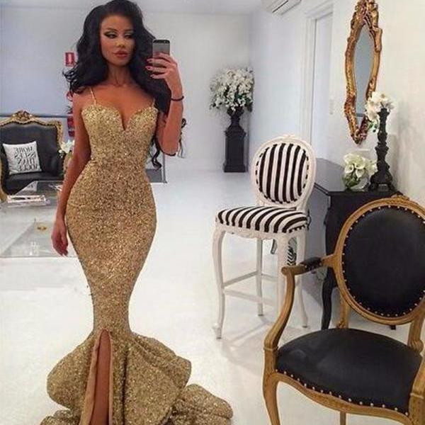 Gold Glitter Sequin Sweetheart Mermaid Flounced Long Prom Dress with Spaghetti Straps