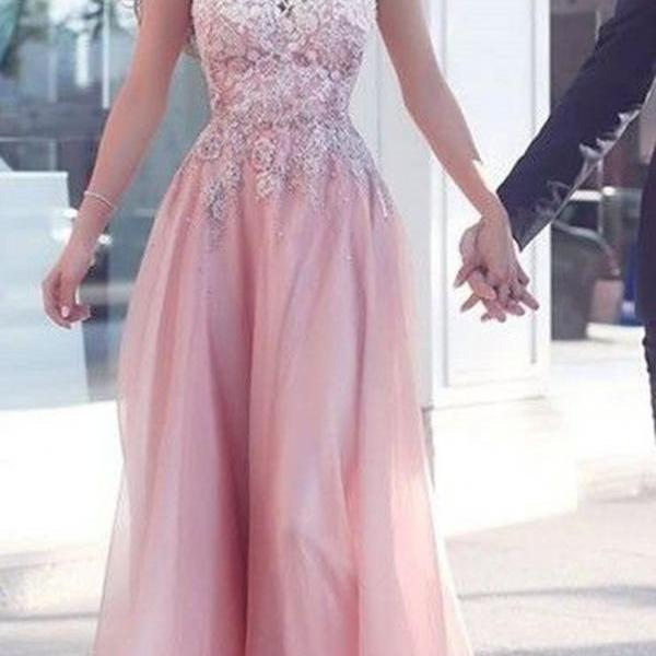 Pink round neck lace long prom dress, pink bridesmaid dresses Appliques Sleeveless Pink Floor-Length A-Line Evening Gowns