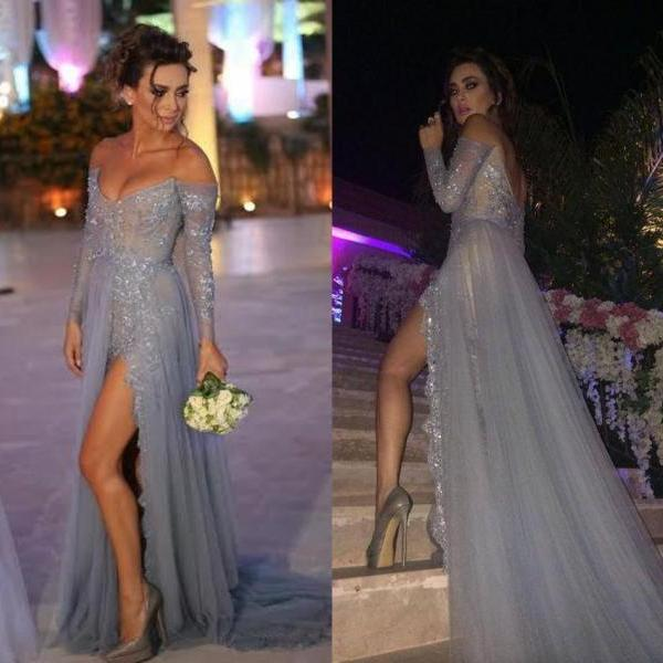 Off Shoulder Long Sleeves Lace Top Tulle Prom Dress,Front Slit Floor Length Evening Dress