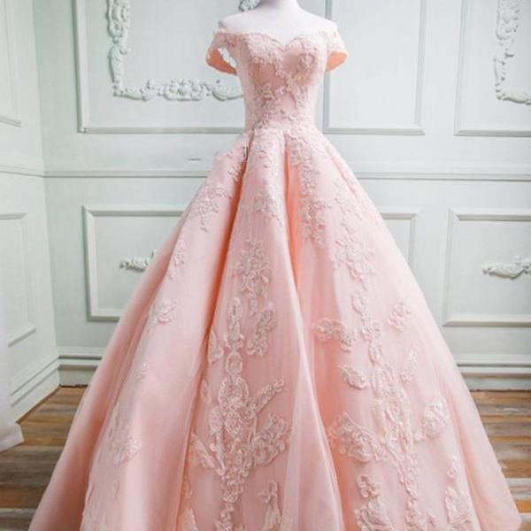 Sweetheart Off The Shoulder Tulle And Satin Ball Gowns Prom Dresses Lace Appliques