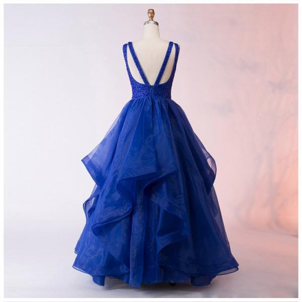 A-Line Bateau Asymmetry Royal Blue Organza Prom Dress with Beading