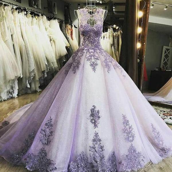 Elegant Tulle Prom Dress, Formal Ball Gown Prom Dresses, Appliques Evening Dress